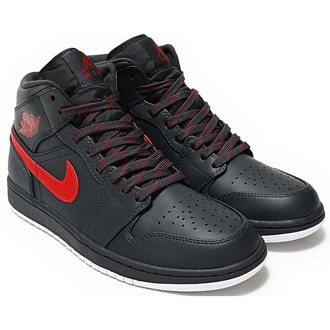688d7e93f86f1 Nike Jordan 1 Mid - 554724-045 - Rouge   Noir à prix pas cher ...