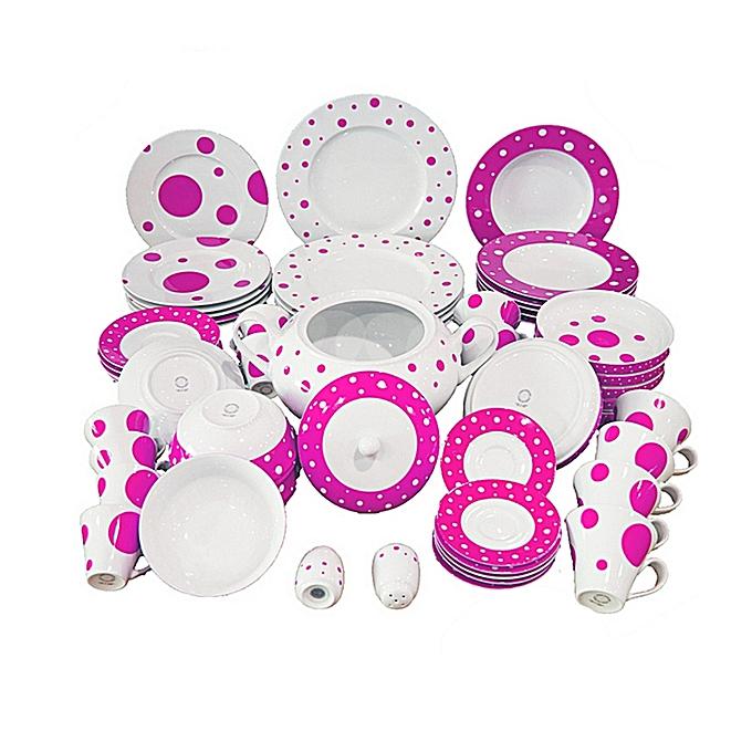 Service table 58 pi ces porcelaine la rose de sable - Arts de la table pas cher ...