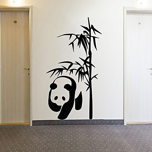 Sticker Mural Panda Bambous   Noir