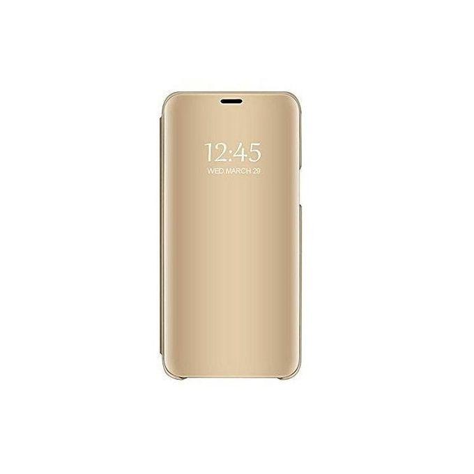 White Label Etui Clear View Pour Samsung Galaxy J7 Pro Gold A