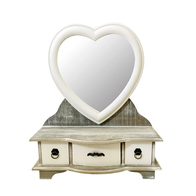 Rangement bijoux avec miroir cœur - Bois