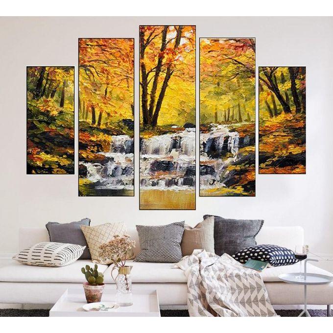 Tableau Décoratif 5 Pièces Cascade Peinture 150 90 Cm