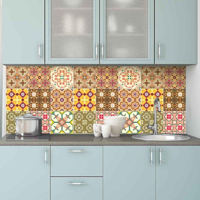 9 stickers carrelages - belles palettes de couleurs - 45cm x 45cm