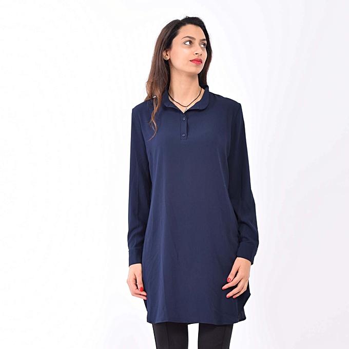 Chemise -crêpe Georgette - bleu marine - pour femme voilée à prix ... 13a84e695fd7