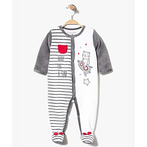 011d0eb8b9a9e Pyjama Dors-Bien En Velours Avec Motif Nounours Et Fermeture Devant - Bien  Blanc